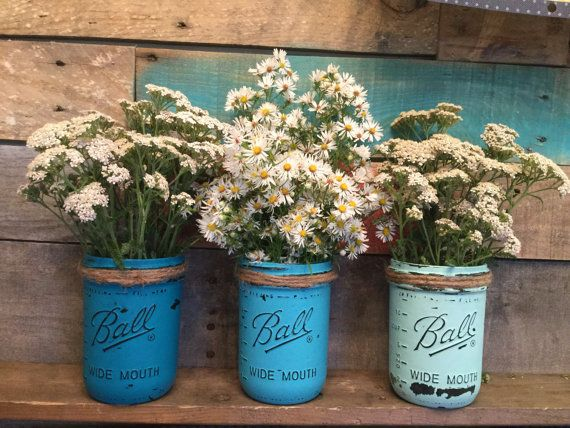 Set of Three Mason Jar Vases Flower Vase by VintageDaisyHome