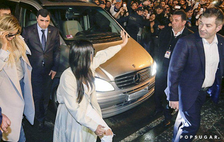 Pin for Later: The Kardashians Cause Major Mayhem After Touching Down in Armenia  The sisters greeted a large group of fans after arriving in Armenia on Wednesday.