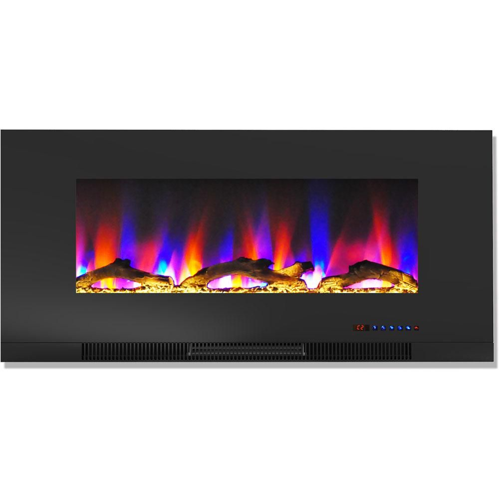 Hanover 42 In Wall Mount Electric Fireplace In Black With Multi