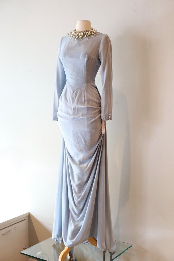 Vintage 1930\'s Ice Blue Velvet Evening Gown by xtabayvintage ...