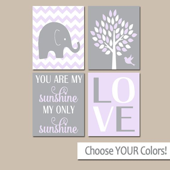 Pink And Gray Girls Baby Room: LILAC Gray Girl Elephant Nursery Decor, My Sunshine Quote