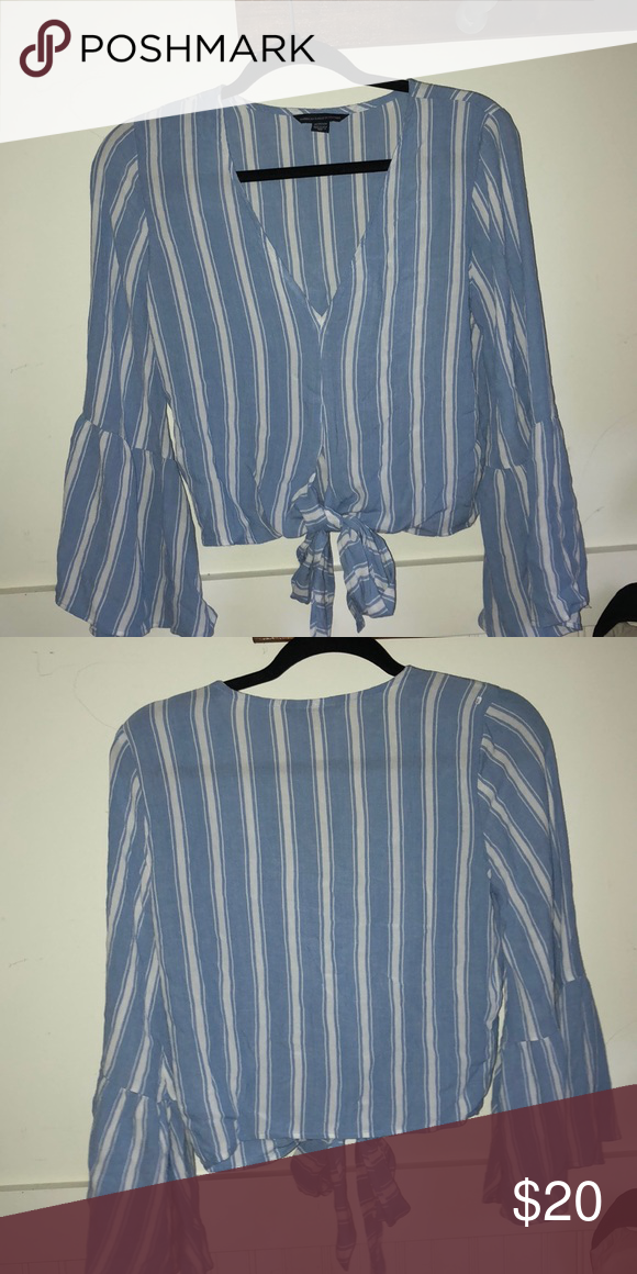 6cd268ea62a03 AE shirt Front tie blue and white striped shirt, never worn American Eagle  Outfitters Tops Blouses