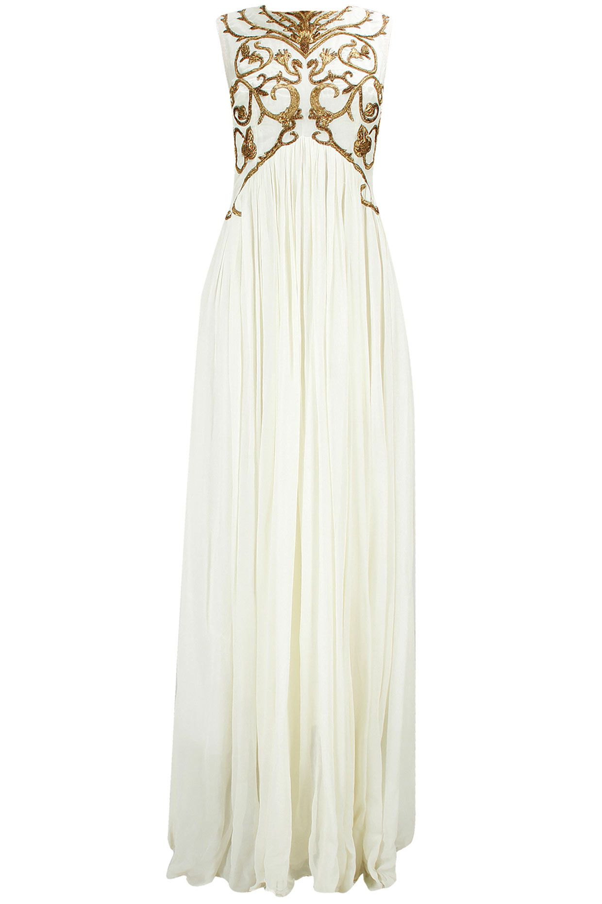 Off-white embroidered pleated gown available only at Pernia\'s Pop-Up ...