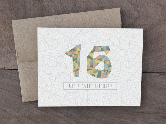 Handmade Birthday Card Sweet 16 Birthday Card Geometric Pattern