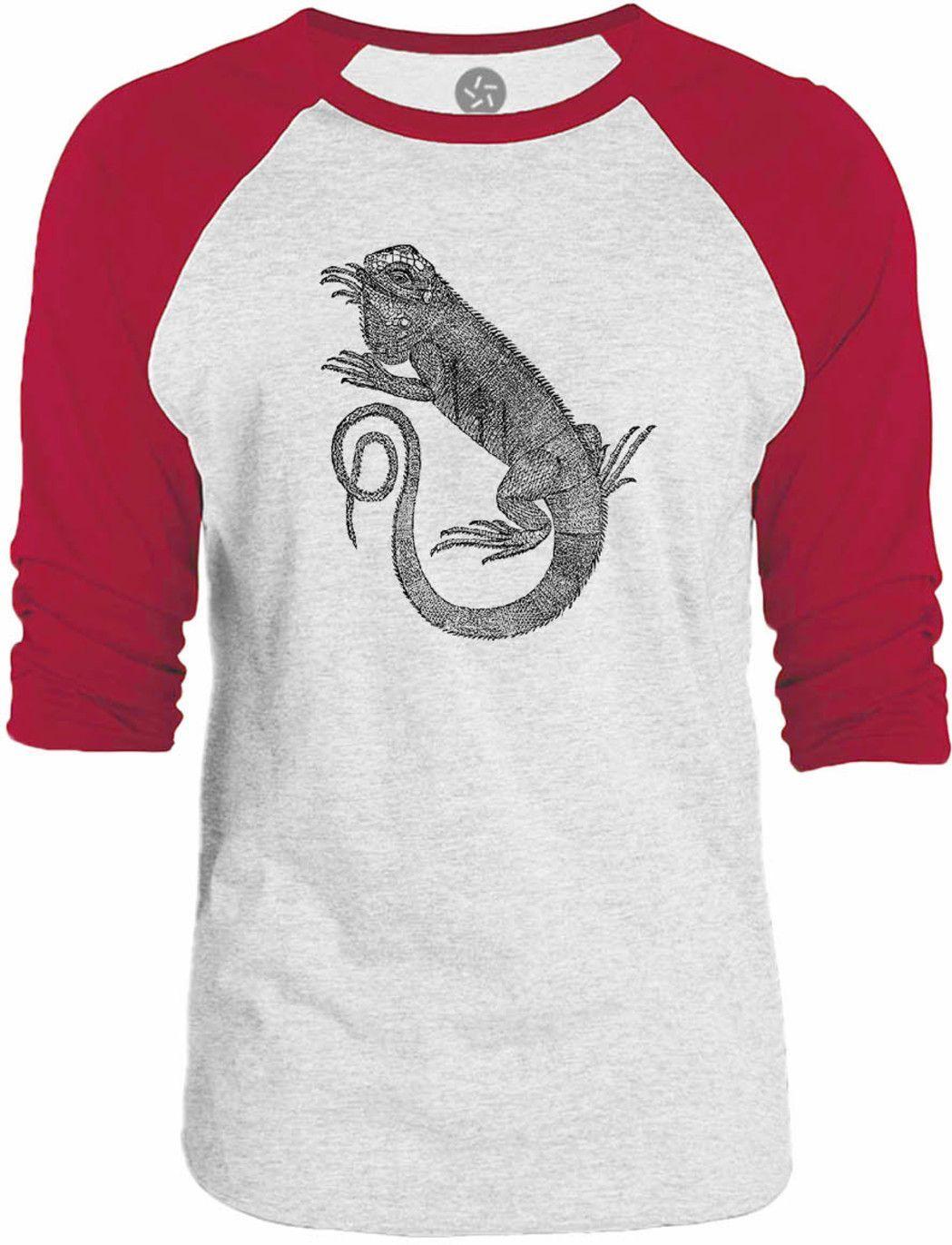 Big Texas Green Iguana 3/4-Sleeve Raglan Baseball T-Shirt