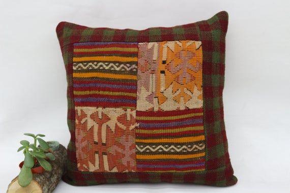 18x18 Anatolian Kilim Pillow,Decorative  Pillow,Patchwork Pillow Cover,Throw Pillows,Chair Pillow,Or