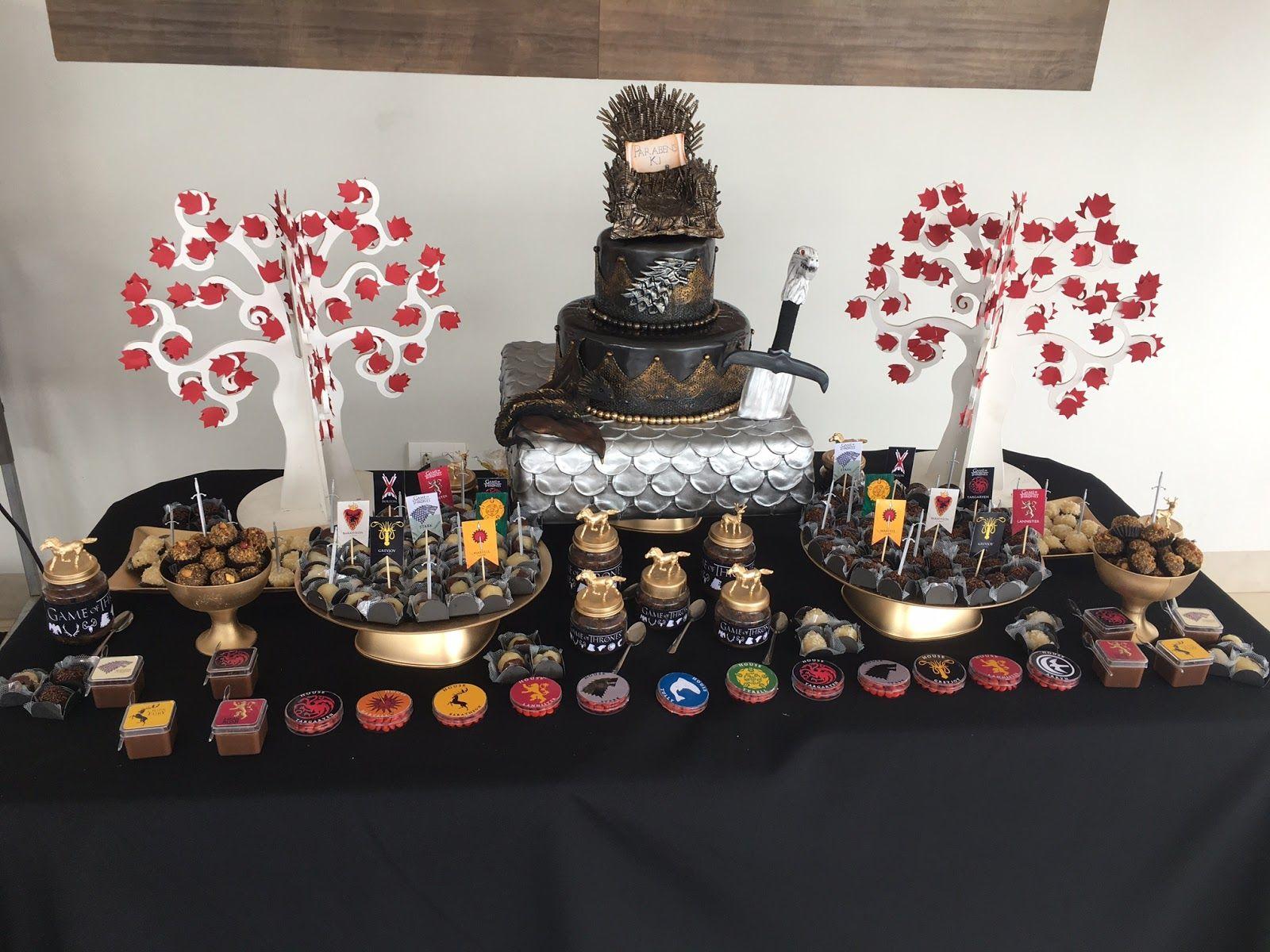 Matrimonio Tema Game Of Thrones : Decoração aniversário game of thrones bolo fake