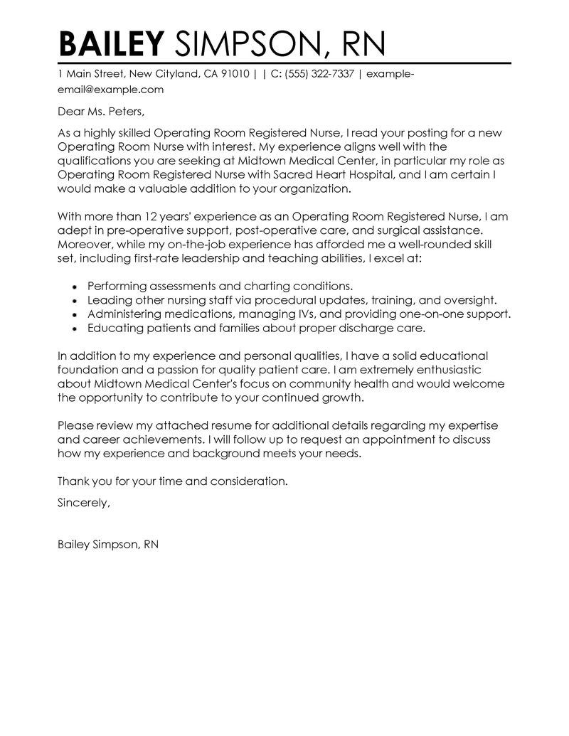 Nurse Cover Letter Examples Amp Resources Myperfectcoverletter