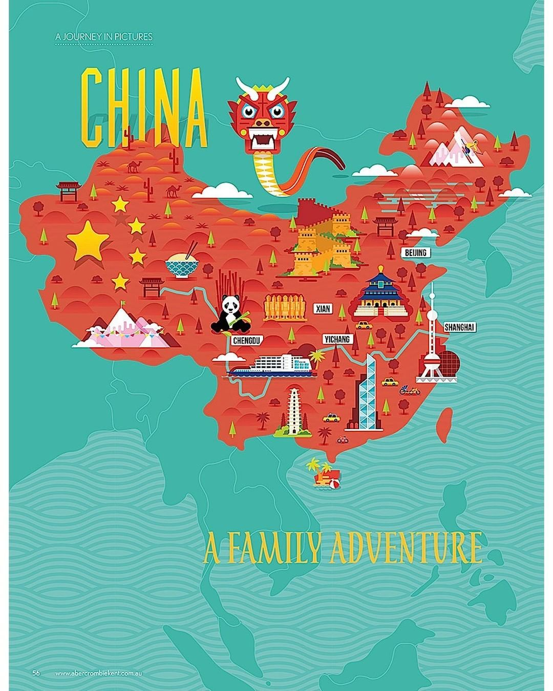 China Map Poster.Stuart Holmes China Map Chinese New Year China