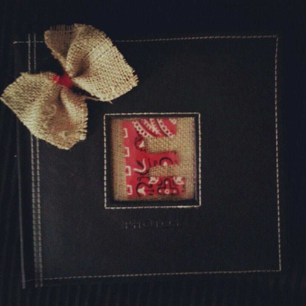 Photo album I made as a gift! Get an album, cut ur letter out of whatever ud like (I used a bandana )n then stick burlap behind it n insert in the photo spot. I made a bow n glued on the side. Its. very easy n a cute gift idea!