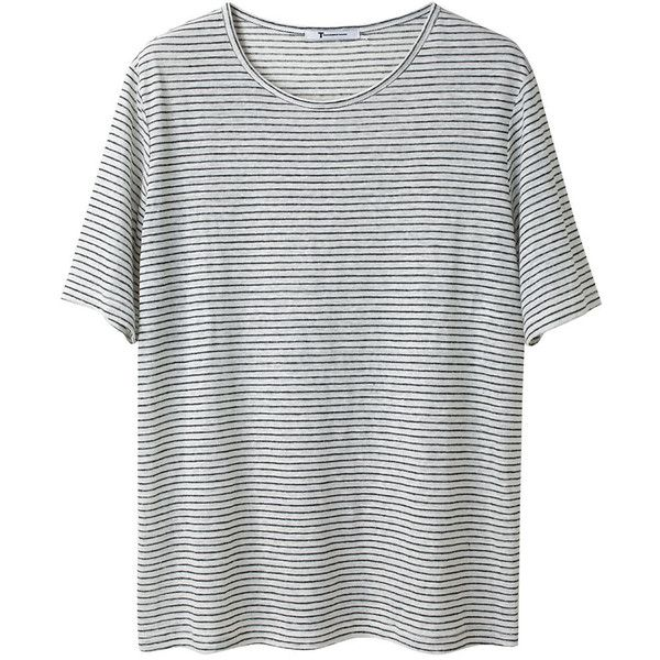 T by Alexander Wang Stripe Linen Tee (€63) ❤ liked on Polyvore featuring tops, t-shirts, shirts, tees, linen shirt, black and white t shirt, jersey shirts, black and white striped shirt and black and white striped t shirt