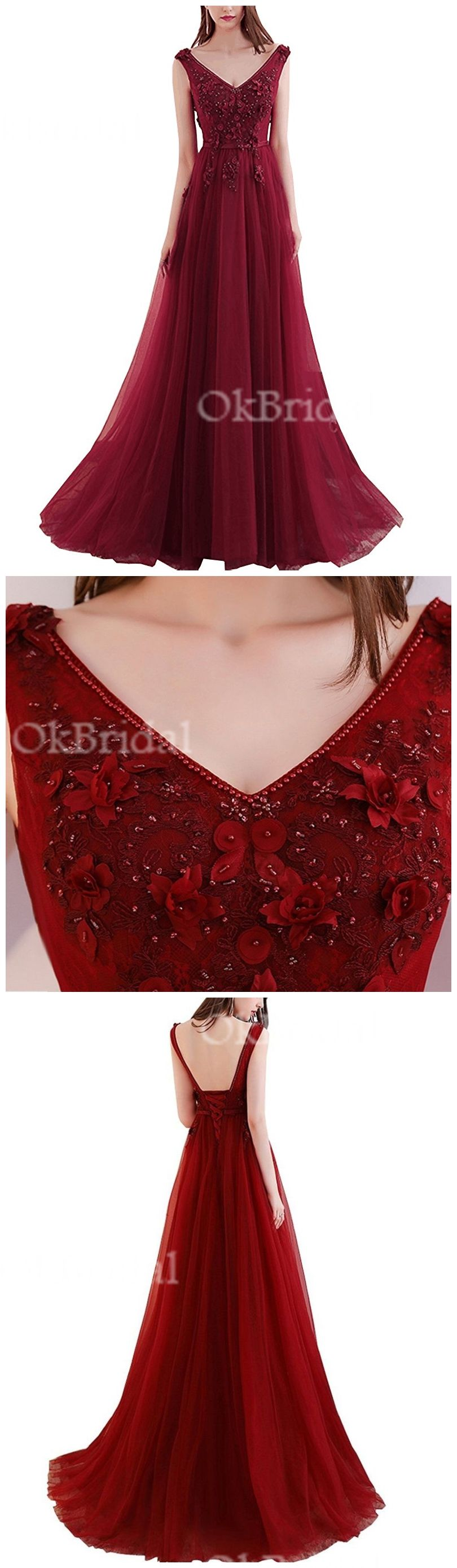 Dark red sexy deep v neckline lace beaded long evening prom dresses