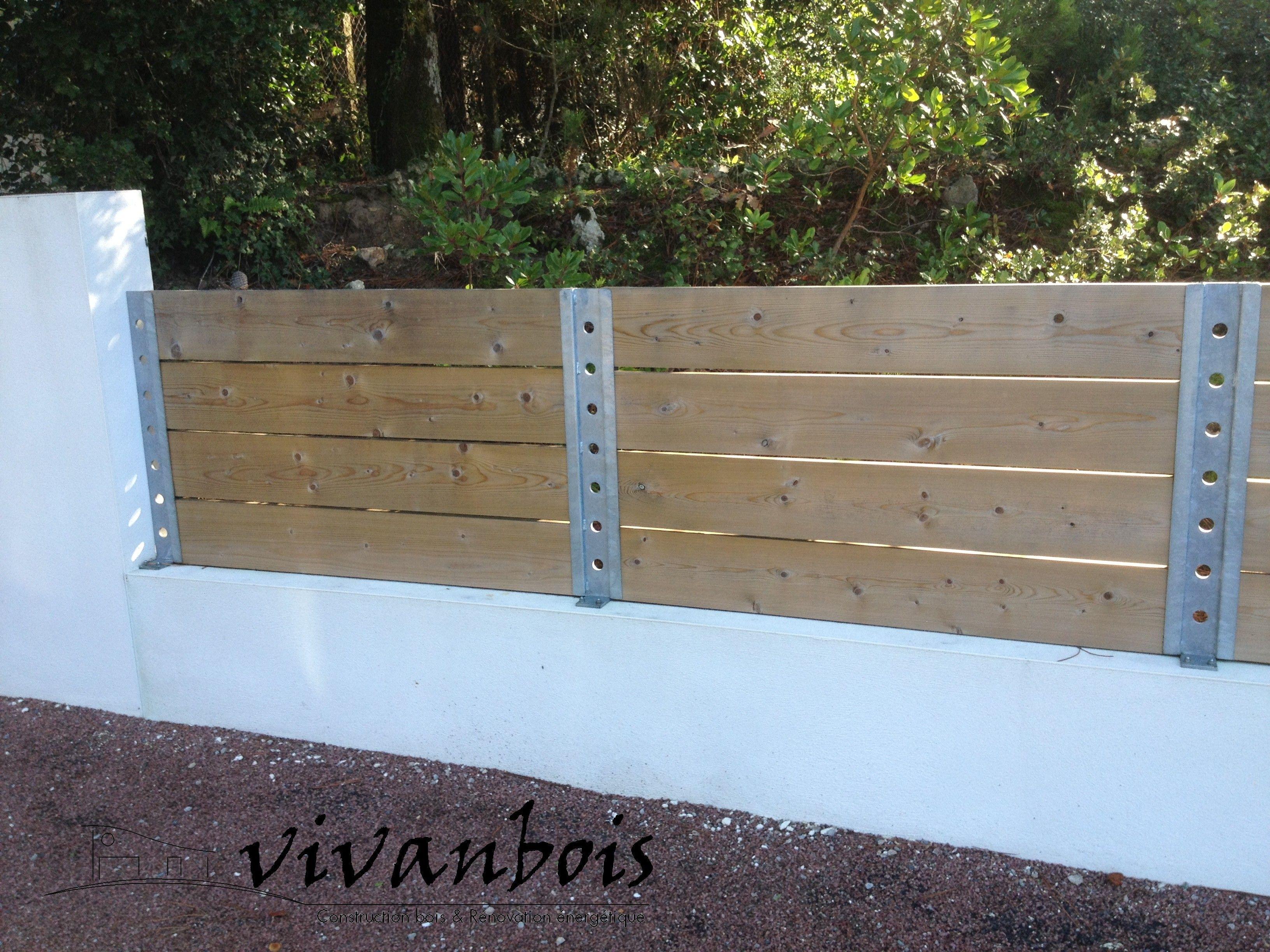 Vivanbois clôture mixte bois/métal , sapin classe 3 ajouré et ...