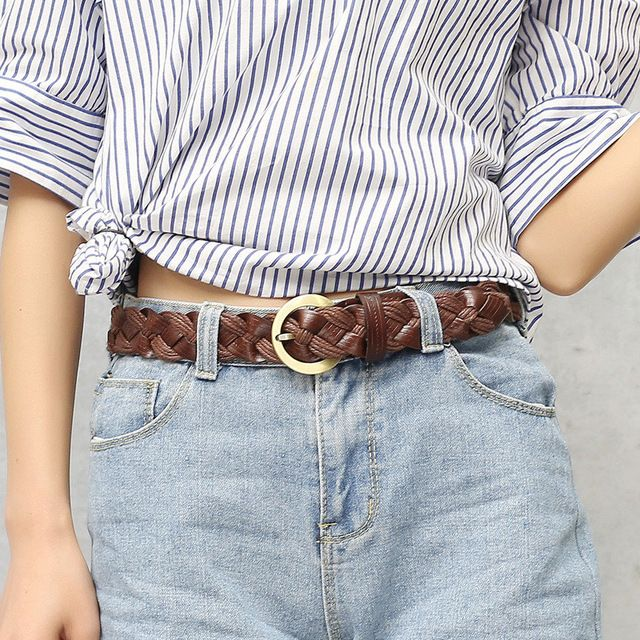 High Quality Leather Belt Ladies Luxury Brand Famous Designer Belts Women  Strap for Jeans Pin Buckle Vintage Weaving 5 Colors ac7938d3fe8
