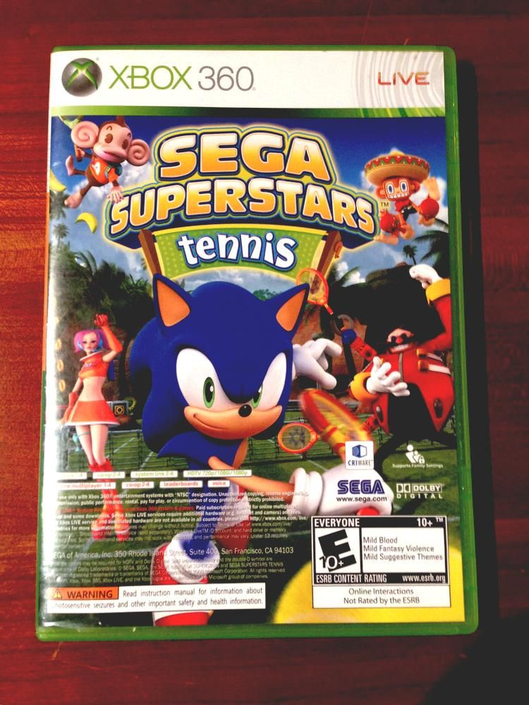 Sega Superstars Tennis For X Box 360 From 1 99 Xbox Xbox 360 For Sale Video Games Live