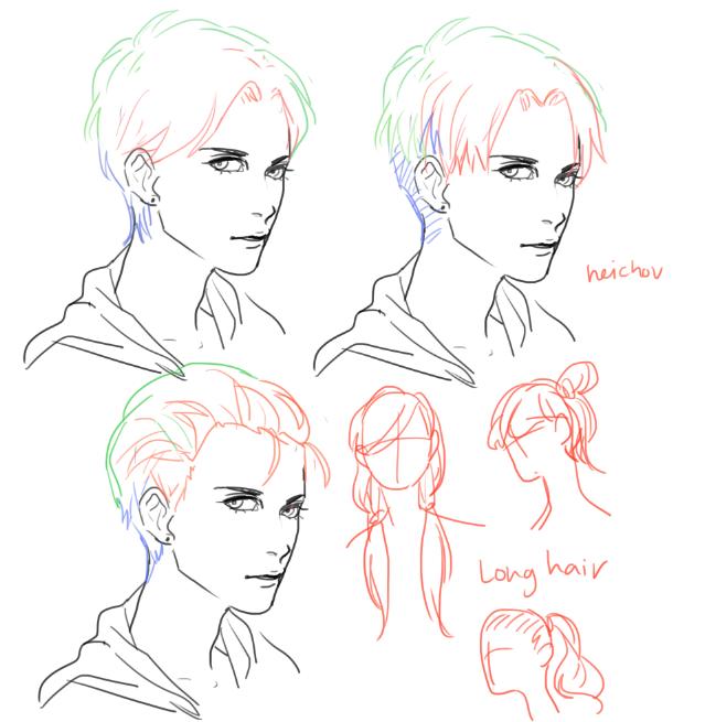 light dark hair/ hairstyles ★ CHARACTER DESIGN