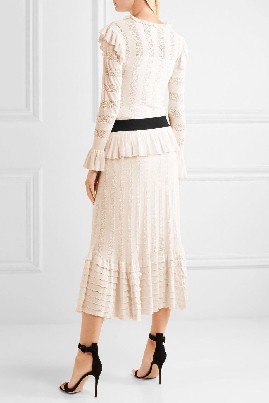 Cypre Ruffled Pointelle-knit Midi Dress - Cream Temperley London t4ZuOOPyy