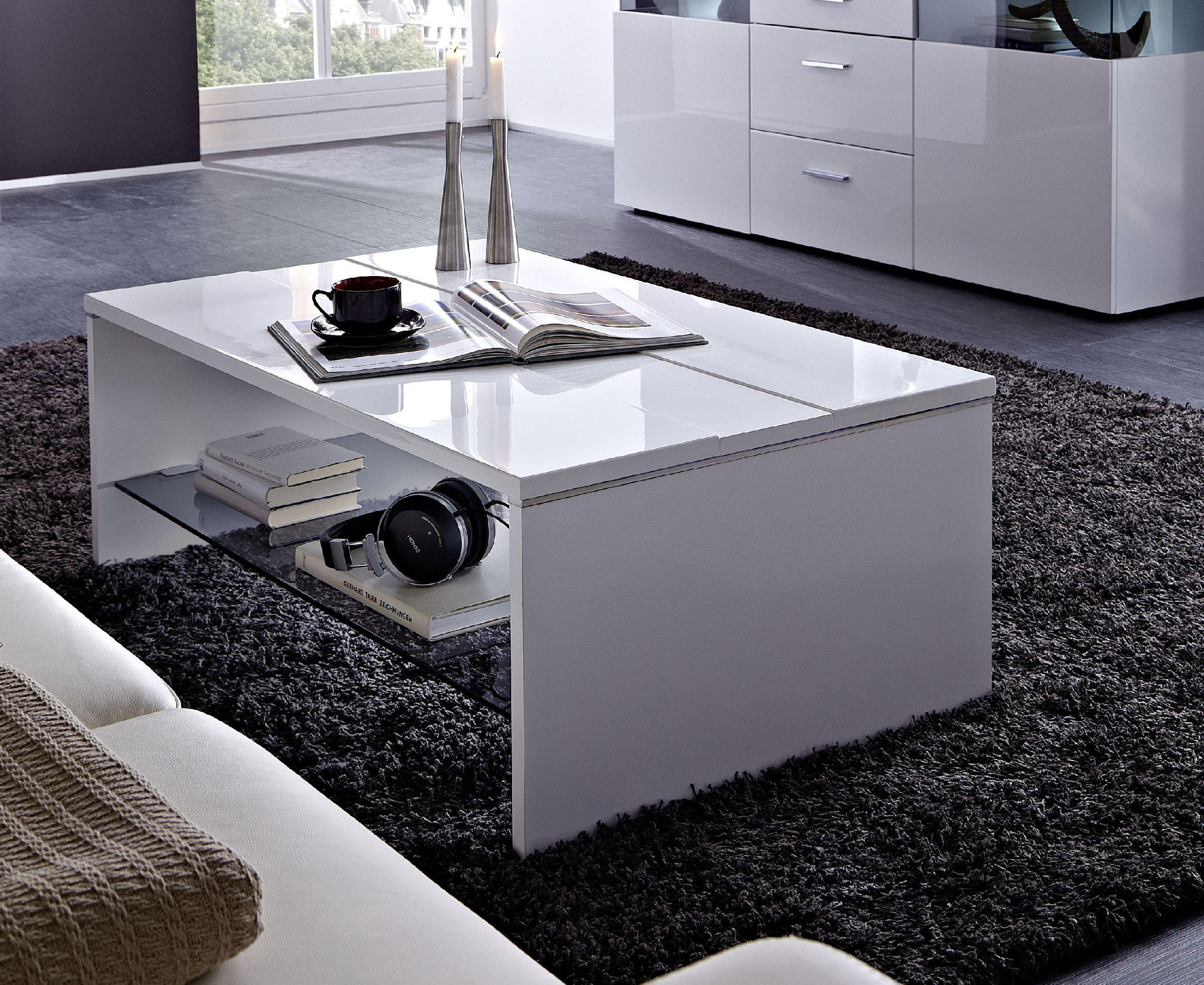 couchtisch weiss hochglanz / glas parsol grau woody 22-00428 ... - Moderne Wohnzimmertische