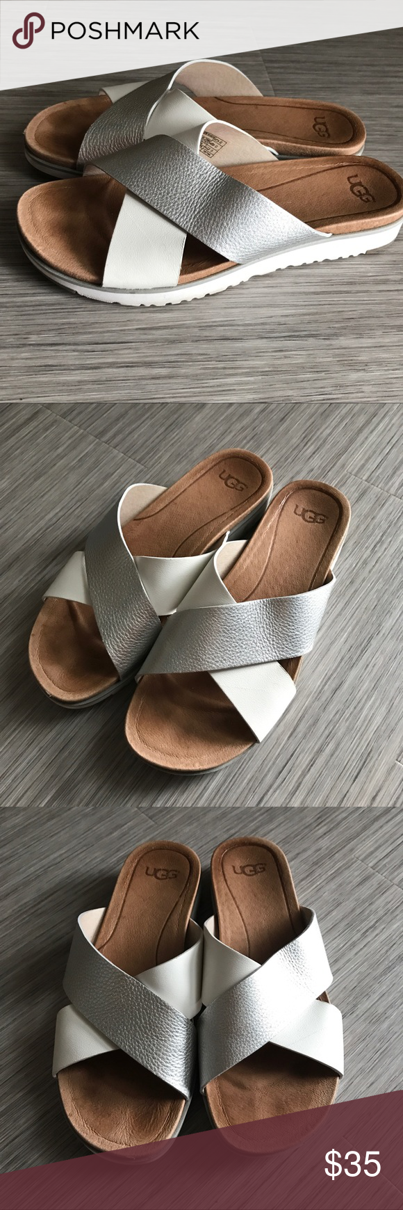 UGG Karl slides Leather silver and white criss cross straps, soft leather lining, rubber toe and heel, easy slip on style, fits true to size, only worn a few times UGG Shoes Sandals