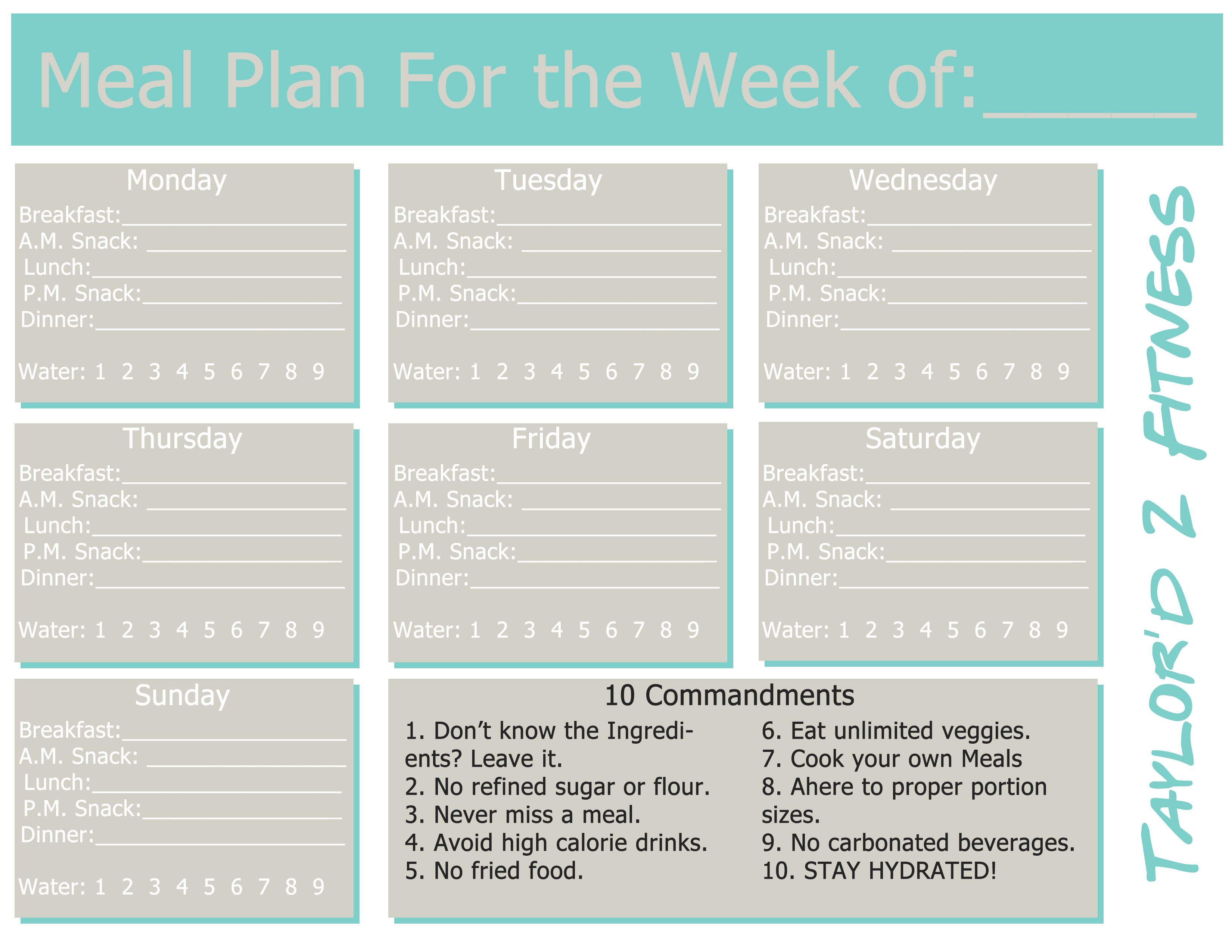 Weekly Meal Planner from Taylor\'d 2 Fitness | Clean Eating | Meal ...
