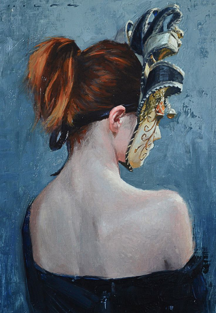 Phoenix    Casey Childs  contemporary figurative  impressionist art female  redhead back masked. Phoenix    Casey Childs  contemporary figurative  impressionist