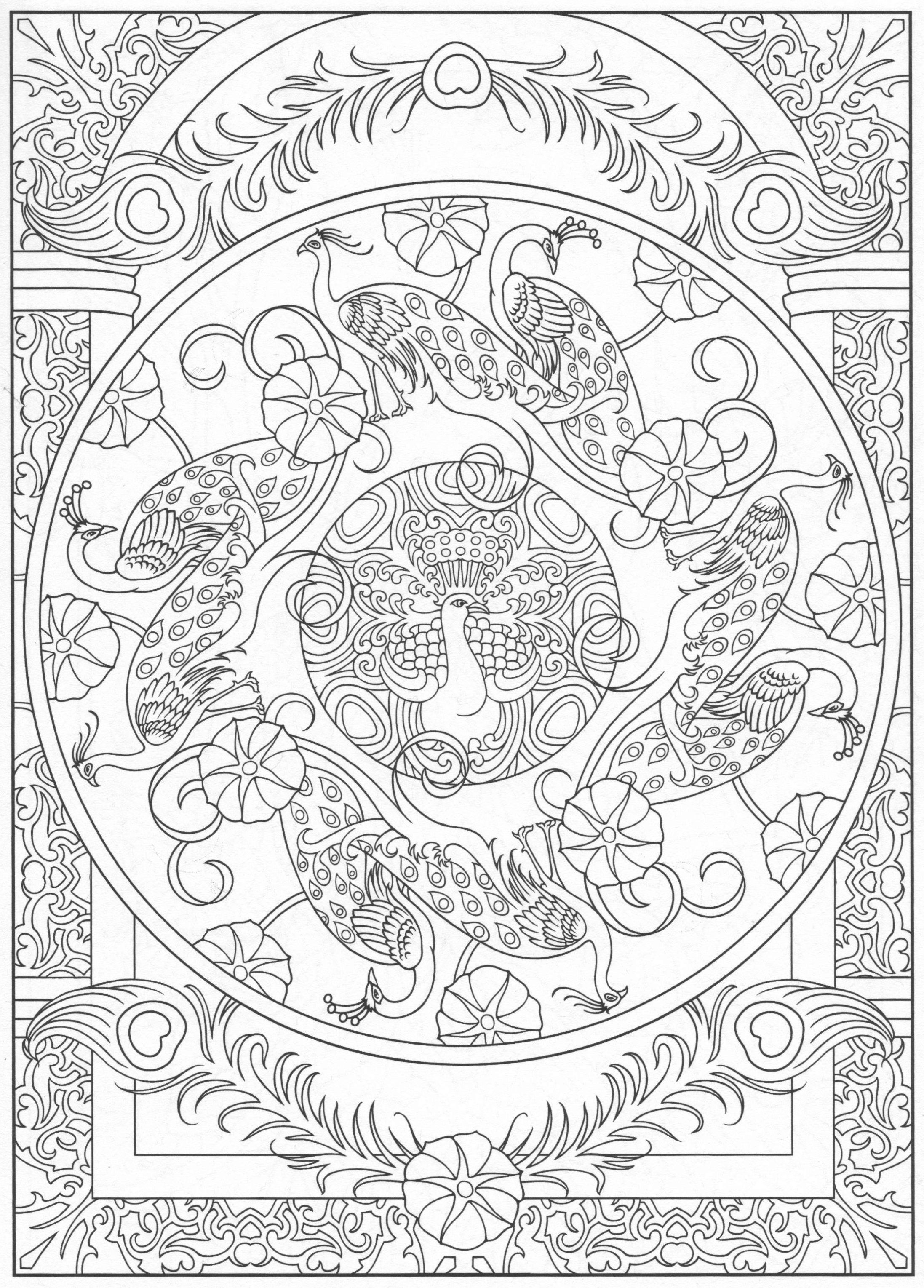 Peacock coloring page, for adults 6/31 | Coloring Pages (Peacocks ...