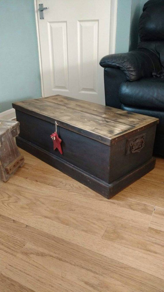 Miraculous Vintage Wooden Trunk Blanket Box Coffee Table Hallway Bench Machost Co Dining Chair Design Ideas Machostcouk