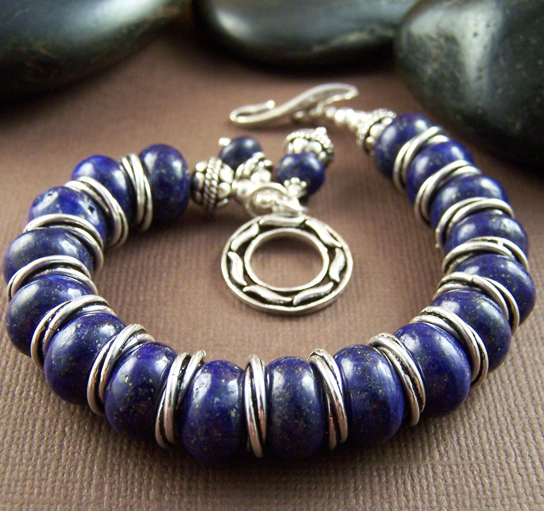 Janelle Bracelet Lapis Lazuli Sterling Silver Beaded Bracelet