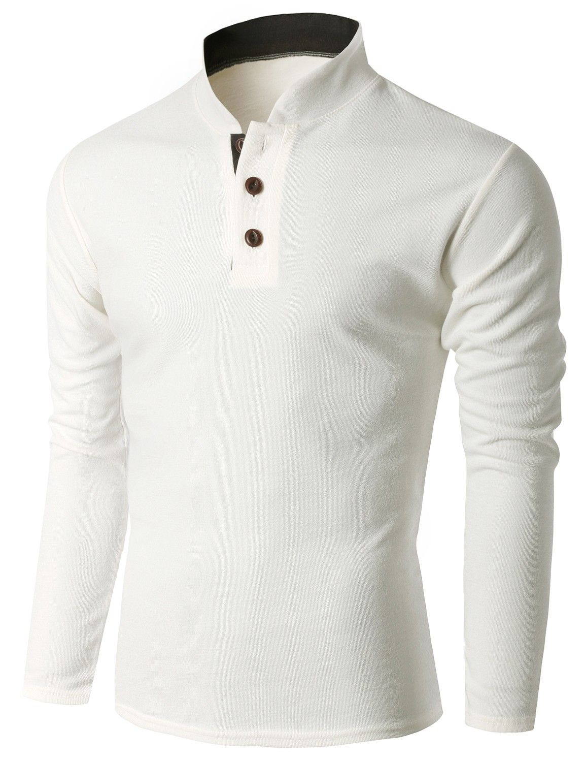 Doublju menus long sleeve china collar henley neck tshirt