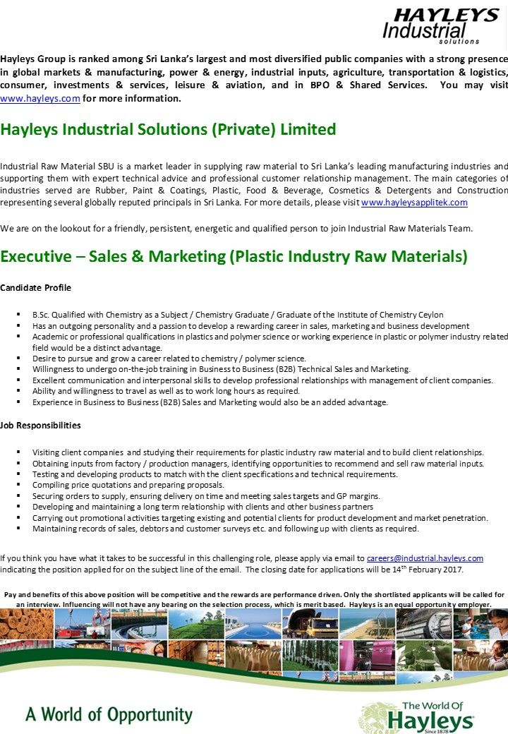 Sales \ Marketing Executive(Plastic Industry Raw Materials) at - sales marketing executive job description