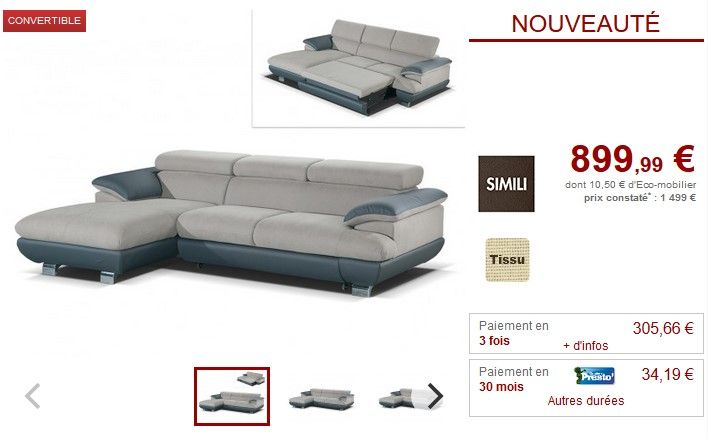 Canape Angle Gauche Convertible Naoto Taupe Anthracite Canape