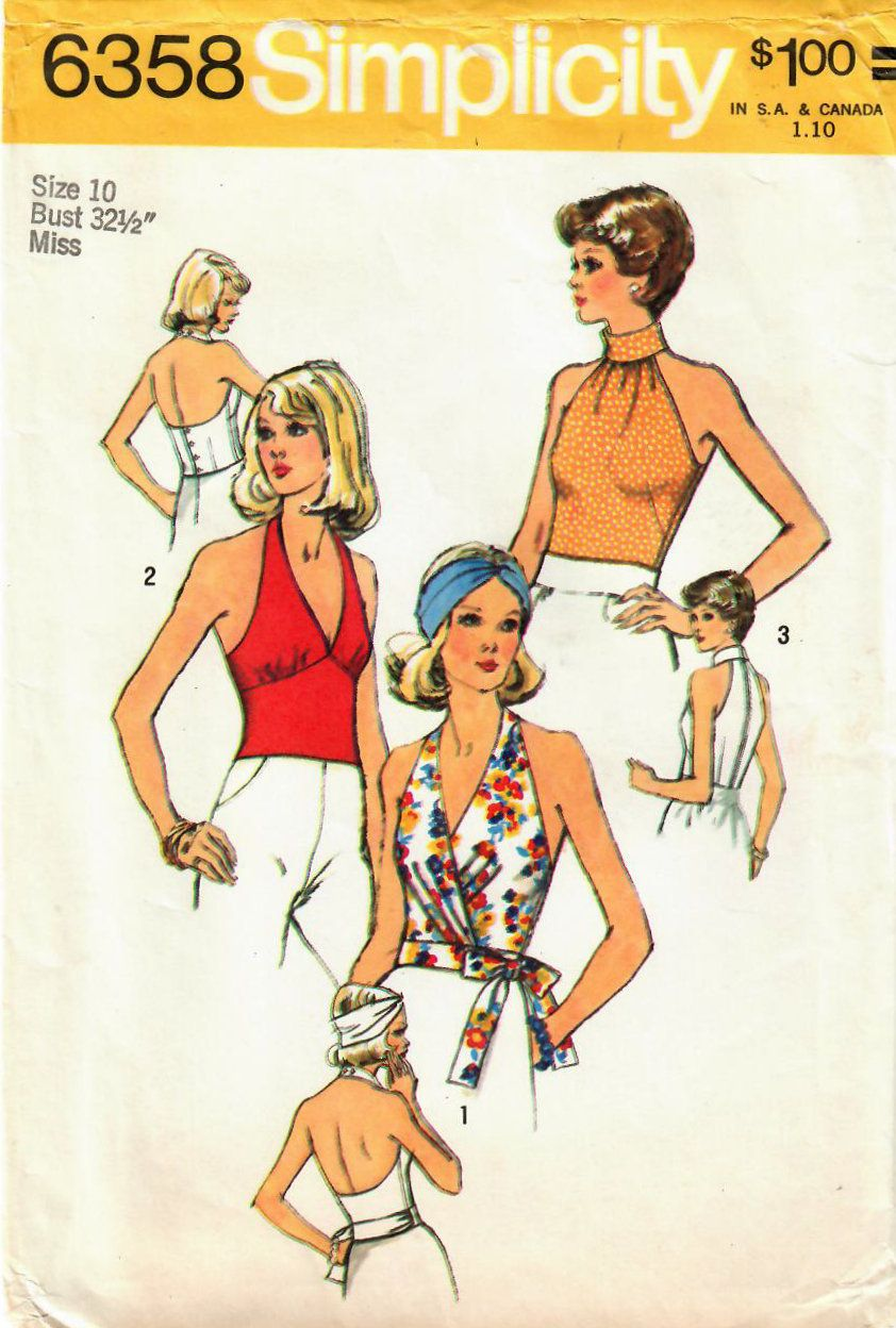 0374fda4cf442 Hot tops in my  etsy shop  1970s Simplicity 6358 Vintage Sewing Pattern  Misses Halter