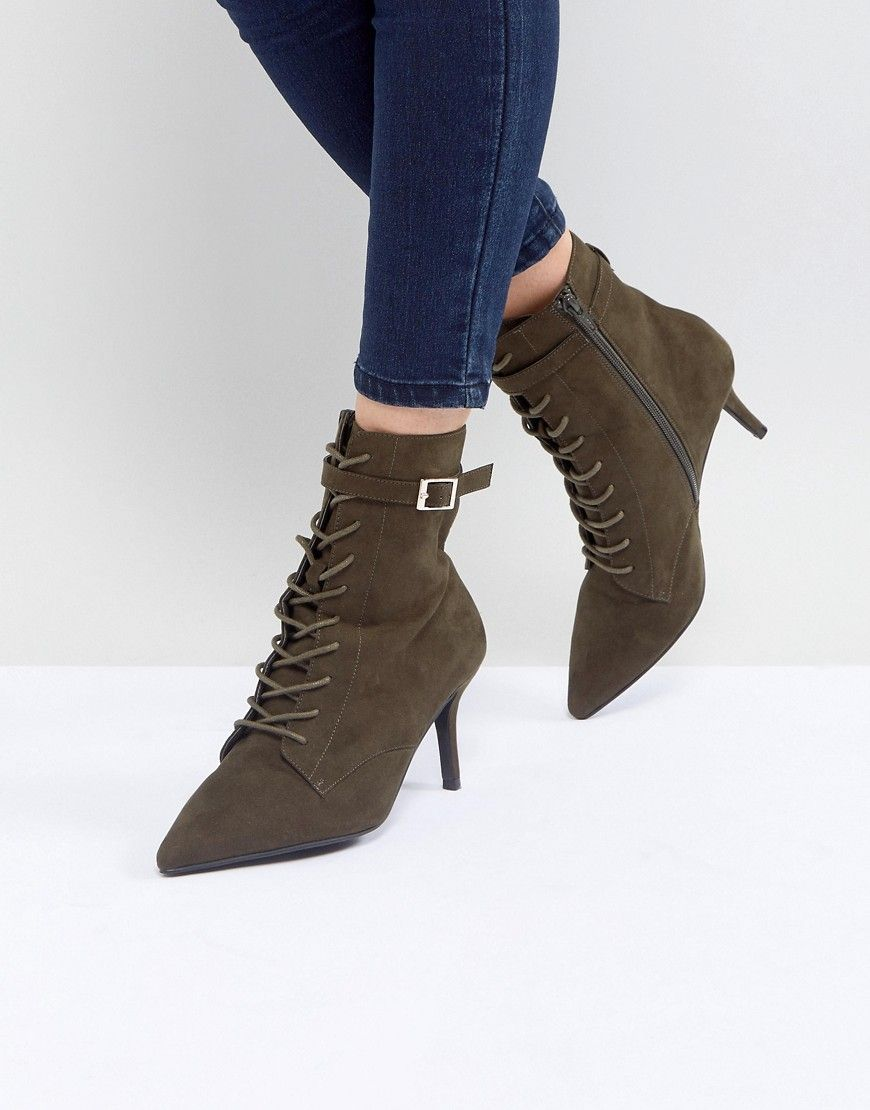 4c1abf27876 Faith Bing Lace Up Kitten Heel Ankle Boots - Green