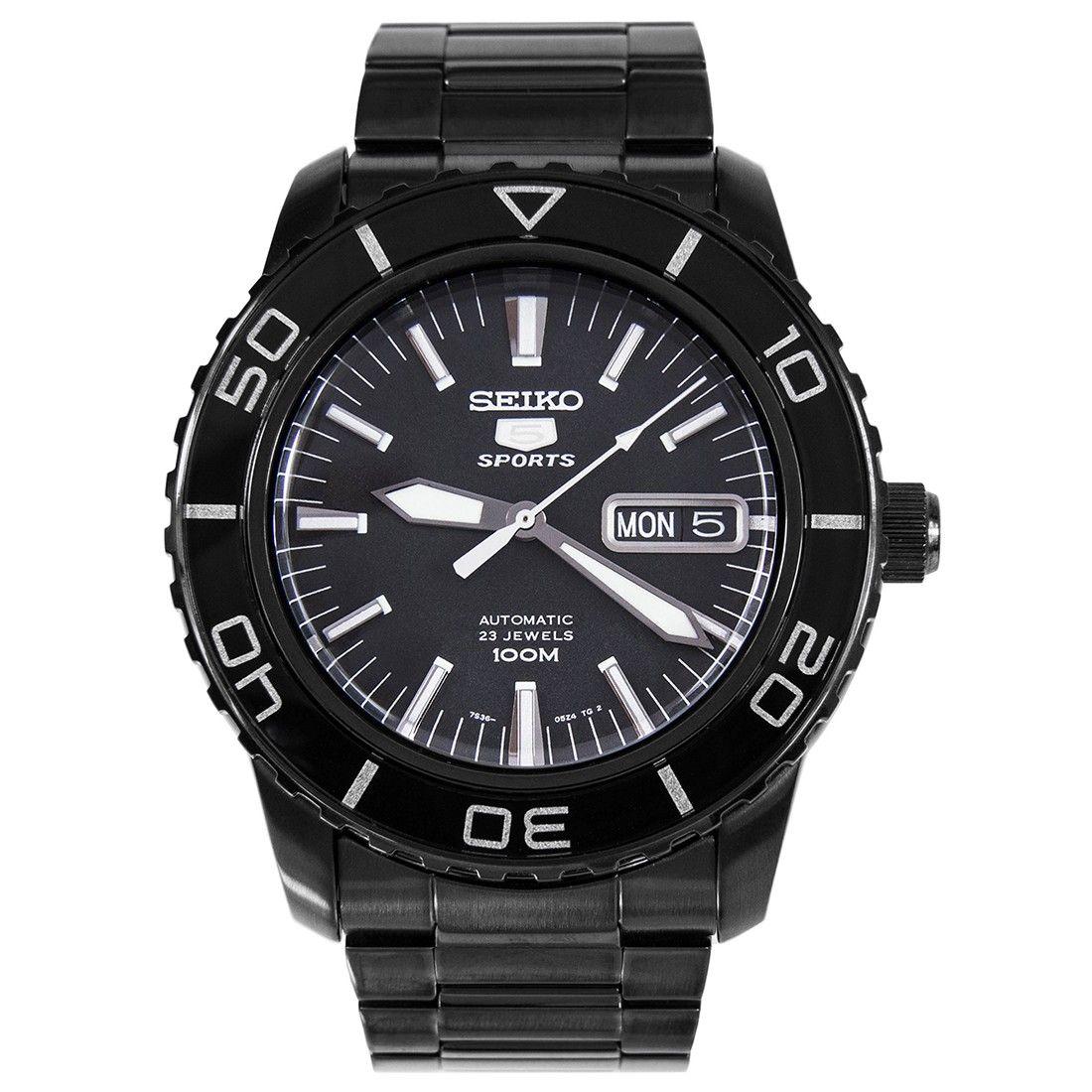 Seiko 5 Sports Automatic Black Mens Dive Watch SNZH59K1