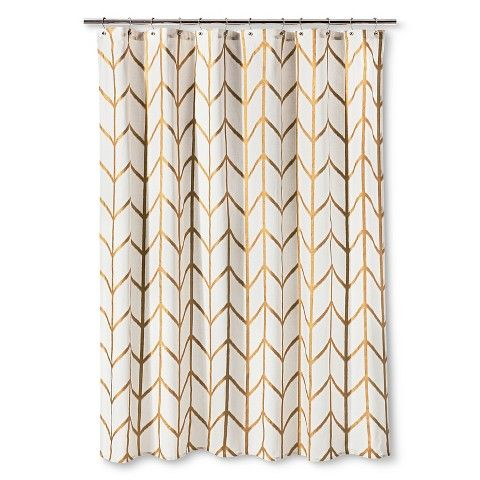 Threshold Shower Curtain Gold Ikat