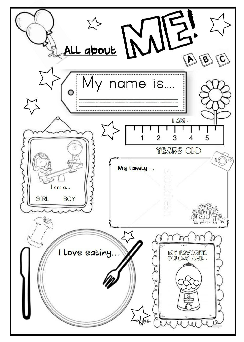 Back To School Pack Abc Numbers 1 10 All About Me English Worksheets My Name Favorite Esl