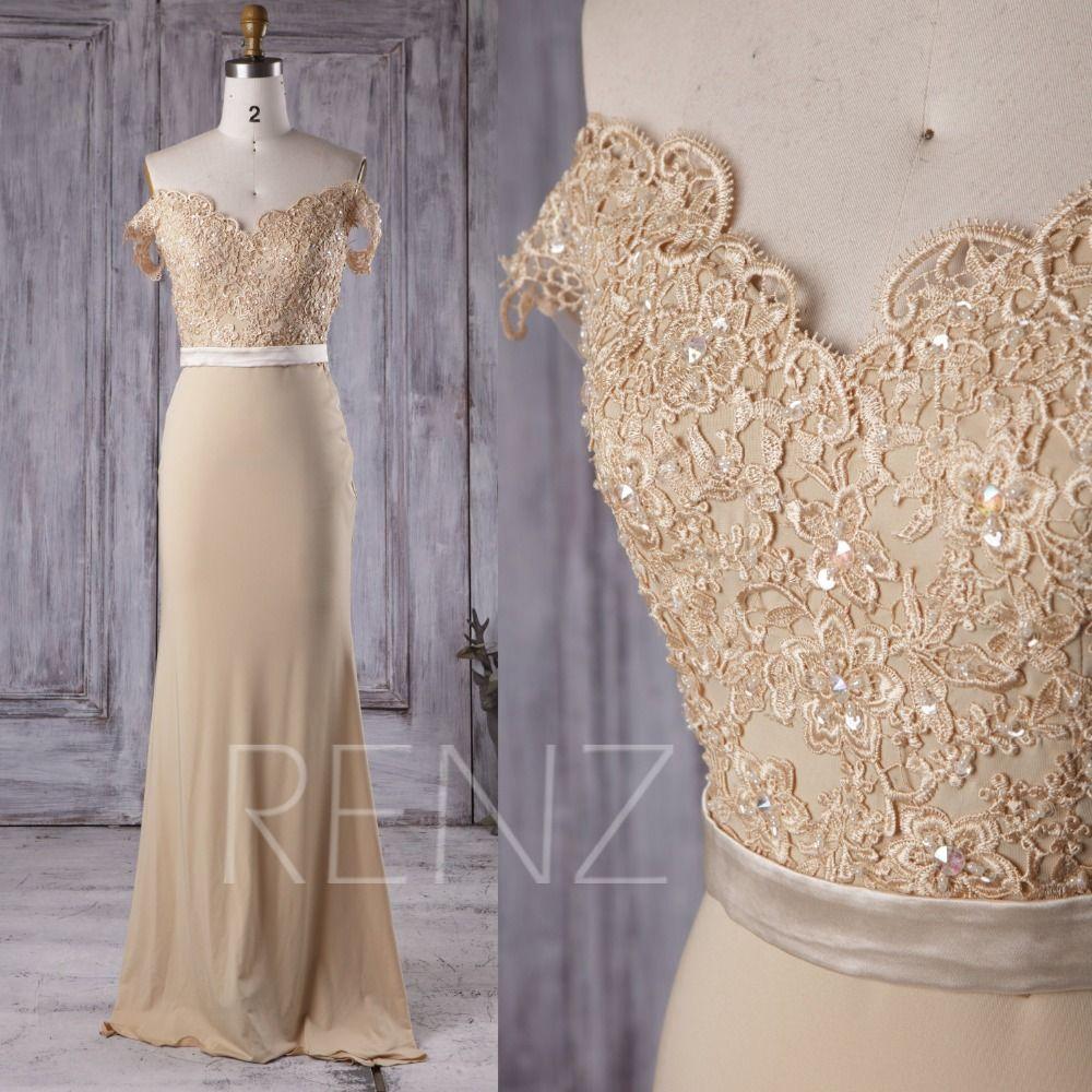 Gold satin lace applique cap sleeves v neck mermaid formal evening