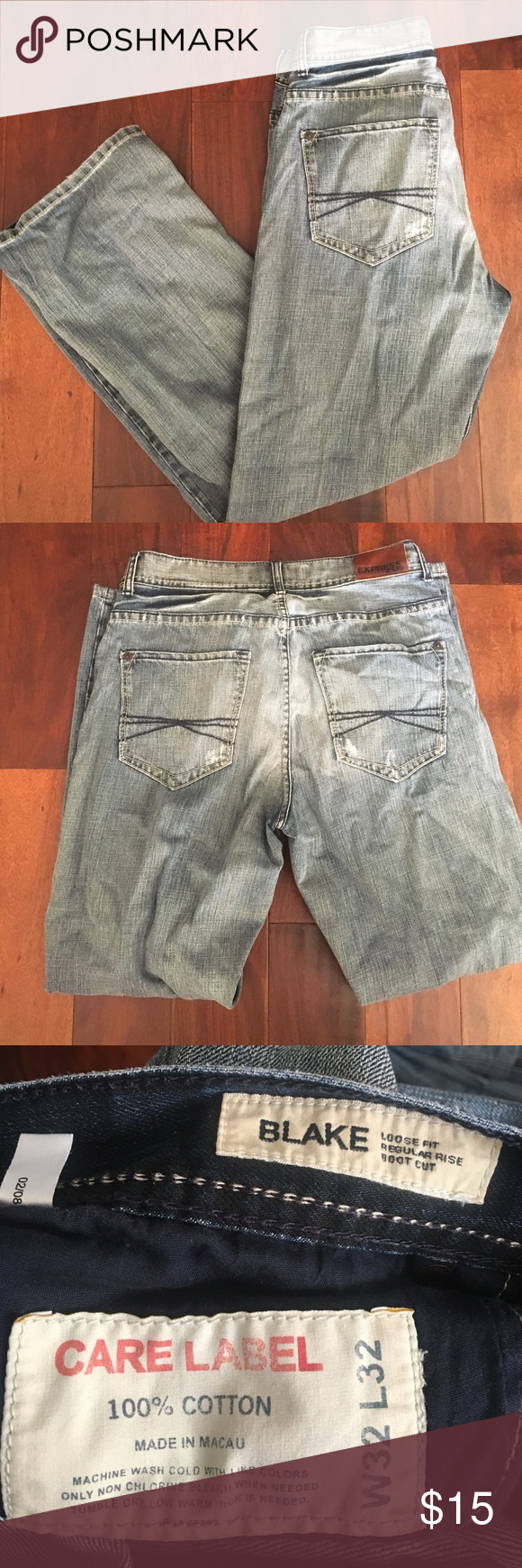 👖Men's express Blake Jeans👖 32x32 Men's Blake jeans - gently worn. Loose fit, regular rise, boot cut. Light wash color Express Jeans Bootcut