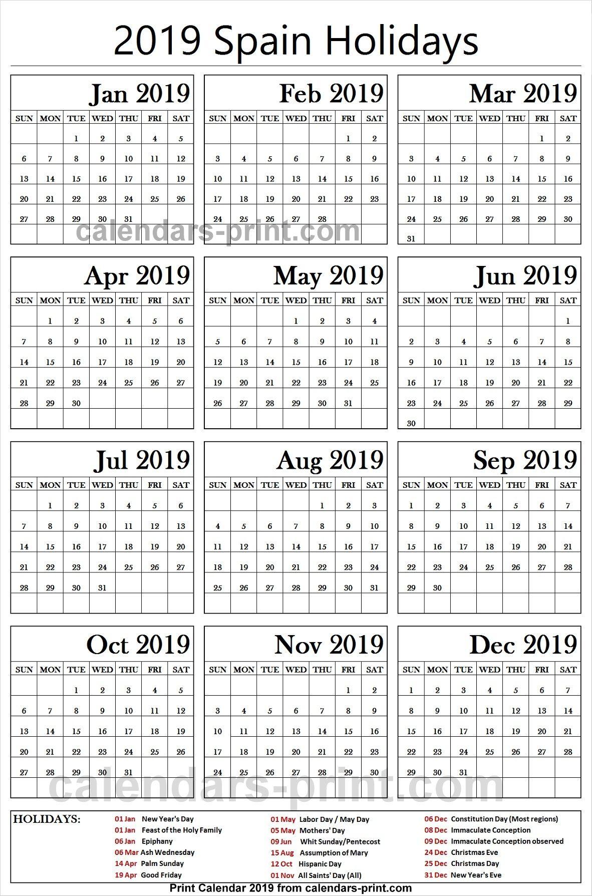 2019 Bank Holidays Spain Holiday Calendar Calendar Template