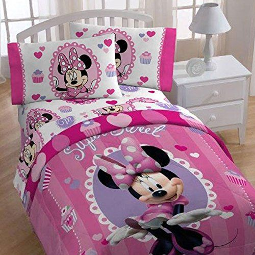 4pc Disney Minnie Mouse Twin Bedding Set Sweet Treats Cupcakes