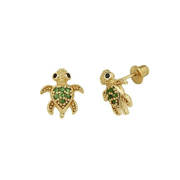 2c05c3cb8 Amazon.com: 14K Yellow Gold Plated 10mm(H) x 8mm(W) CZ Turtle Stud Earrings  with Screw-back for Children: The World Jewelry Center: Jewelry