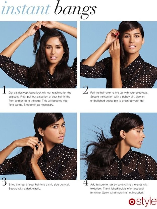 Afraid of commitment? Try these adorable fake bangs. | 17 Ways To Never Have A Bad Hair Day Again