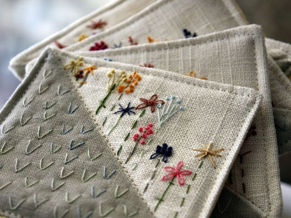 Hand-embroidered coasters are heartfelt and handmade.
