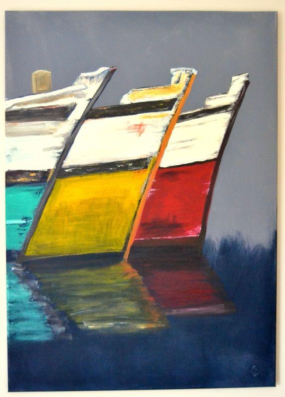 Acrylique Sur Toile Gustave A La Mer Tableau Peinture
