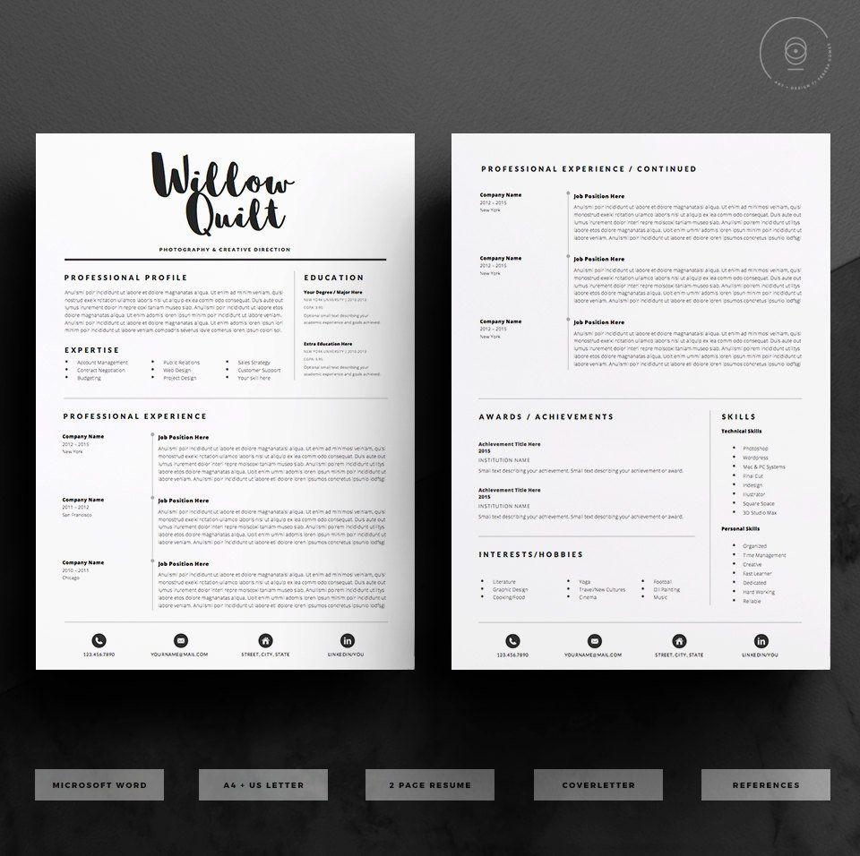 5 page modèle de CV / Pack de modèle de CV lettre de Etsy