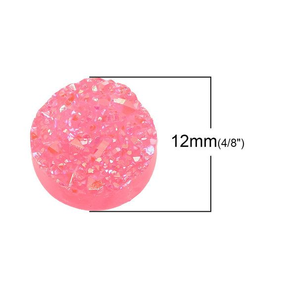 20 Hot Pink Resin Dome Seals Cabochon Round by VickysJewelrySupply