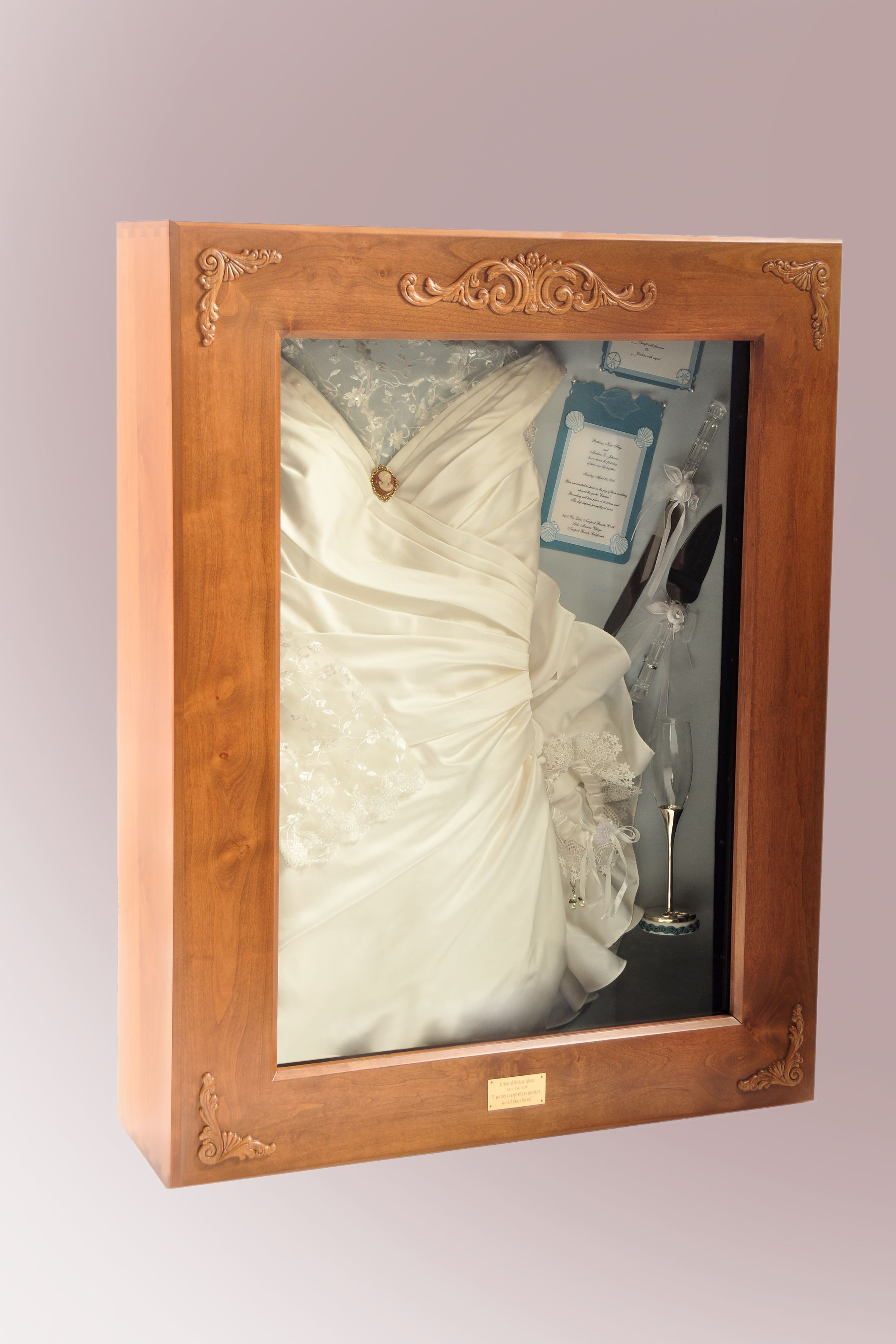 See Heirloom Shadow Box Co On Internet For Details Of Our Lighted Shadow Boxes To Display Yo Wedding Dress Display Wedding Shadow Box Wedding Dress Shadow Box