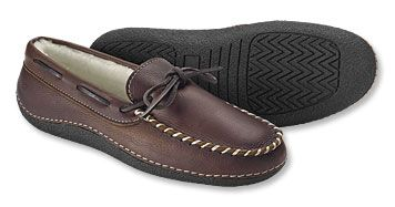 7c488e43baf3f These moccasin-style men's oiled leather slippers, lined in natural  shearling, are too good-looking to be confined indoors. Luckily, they're  made with an ...