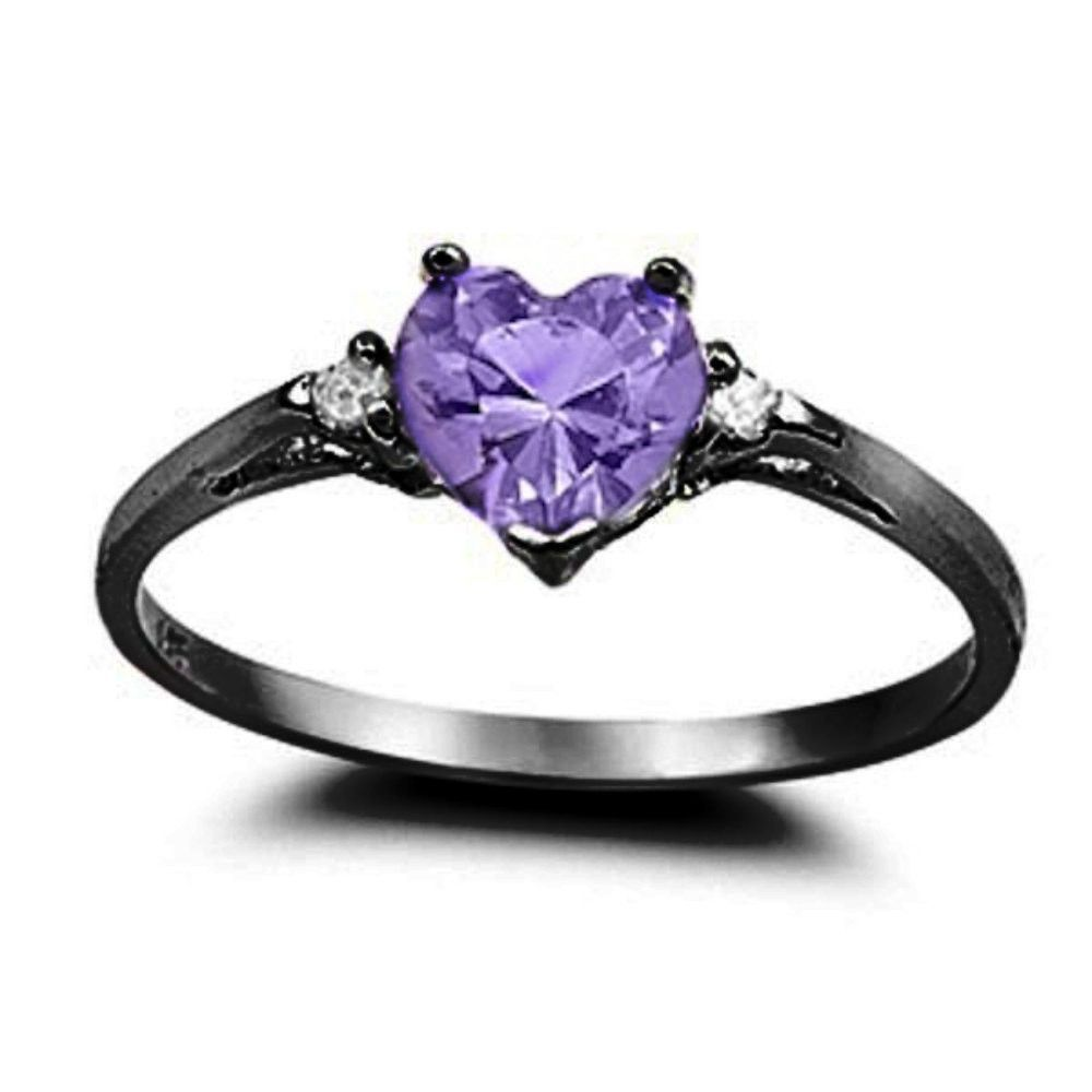050ct Purple Amethyst Cz Heart Shape Round Black Gold Rhodium 925 Sterling  Silver Promise Ring