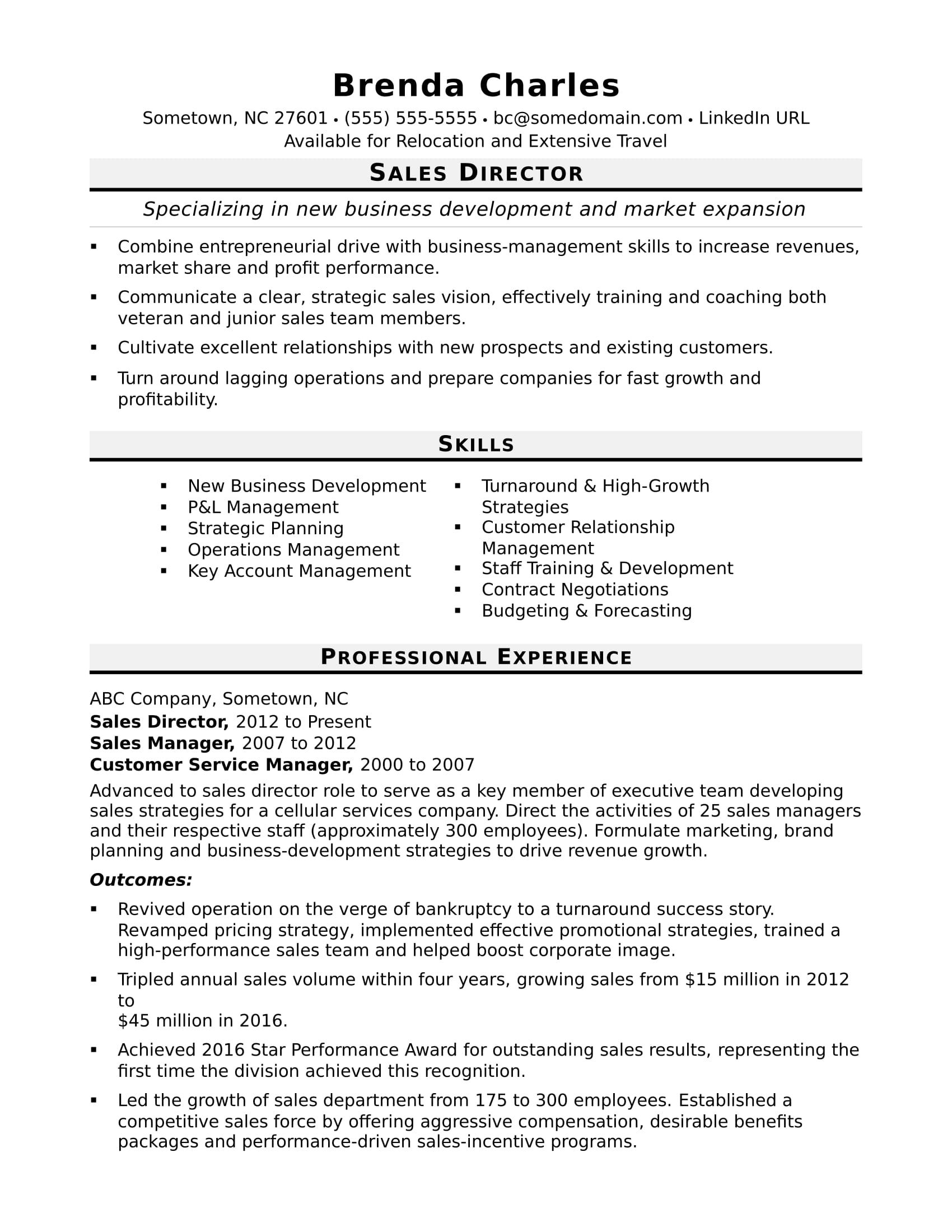 Sales Director Resume Sample Monster Sales Executive